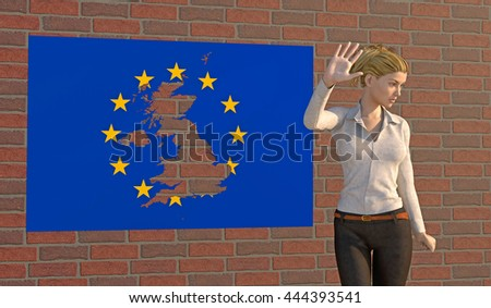 3D render of a woman turning away from a EU poster on a brick wall with a UK shape torn out. Depicting an emotional response to the BREXIT dilemma. depth-of-field and motion blur for dramatic effect. - stock photo