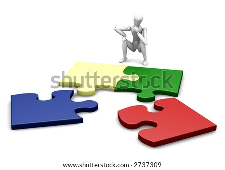 3D render of a wooden man with an unfinished puzzle - stock photo