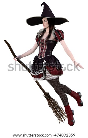 3d render of a young beautiful witch isolated on white background
