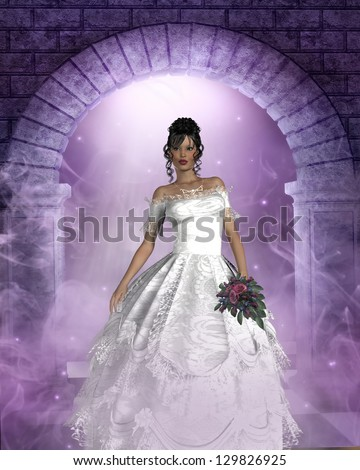 3d render of a young bride dressed in white. - stock photo