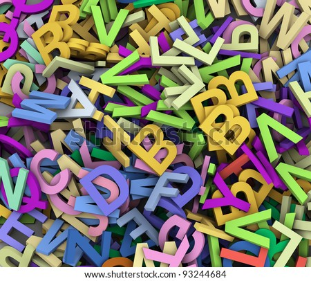 3d render of abstract background of colorful alphabets - stock photo