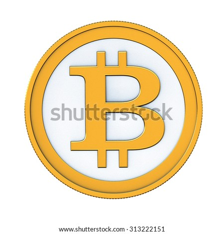 3d render of abstract bitcoin coin isolated over white background - stock photo