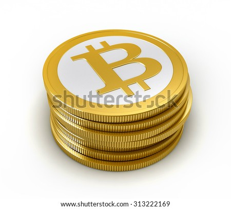 3d render of abstract bitcoin coin over white background - stock photo