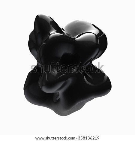 3d render of abstract black shape Isolated on white background - stock photo