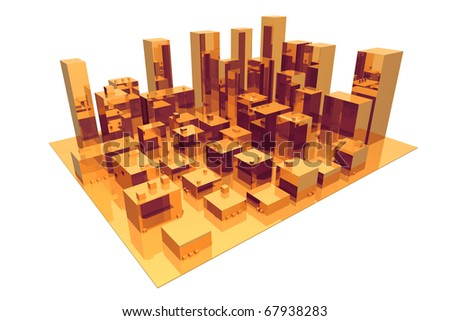 3D render of abstract city - stock photo