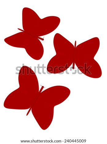3d Render of Abstract Paper Butterflies - stock photo