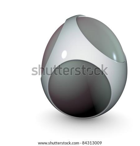 3d render of alien techno egg object - stock photo