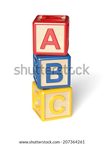 3d render of alphabet blocks isolated on white background - stock photo