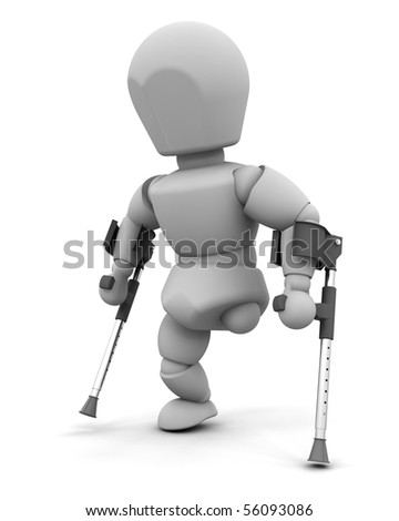 3d render of an amputee on crutches