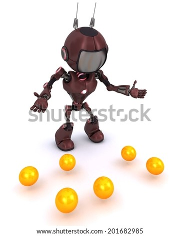 3D Render of an Android juggler