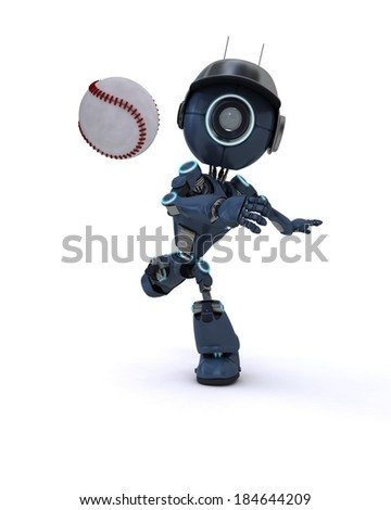 3D Render of an Android playing baseball