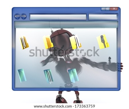 3D Render of an Android with computer window