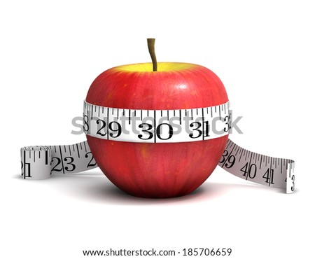3d render of an apple with a tape measure wrapped round it - stock photo