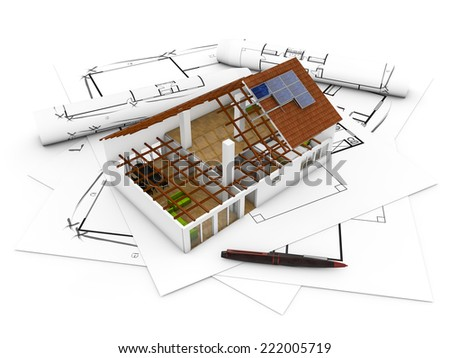 3d render of an architecture model over plots and technical draws