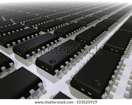 3d render of an array of SOIC 16N electronic components - stock photo