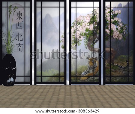3D render of an Asian room. 3D Japanese screens with textures created from personal photo's and hand painting.  The scene was rendered in a 3D program.  Tiger under a cherry tree and misty mountains. - stock photo