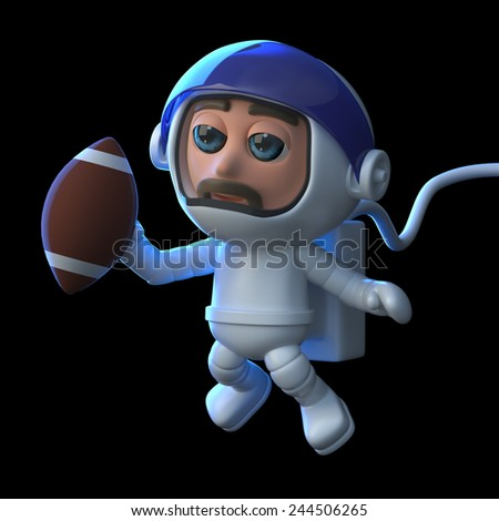 3d render of an astronaut playing American football in space.