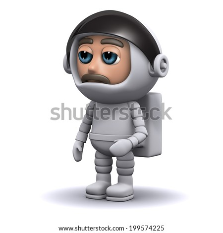 3d render of an astronaut standing still
