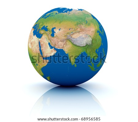 3d render of an earth globe on white background