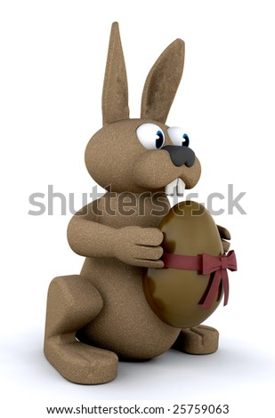 3d render of an easter bunny holding a chocolate easter egg