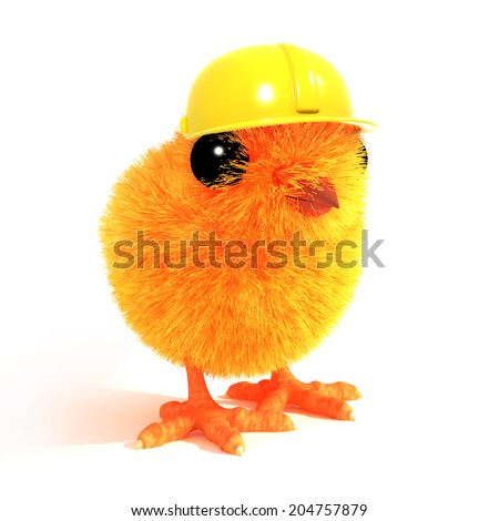 3d render of an Easter chick wearign a construction workers hard hat - stock photo