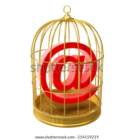 3d render of an email address symbol inside a bird cage - stock photo