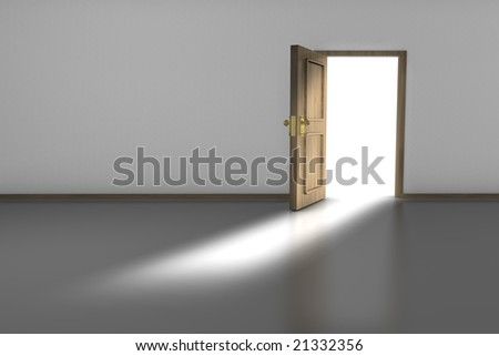 3D render of an empty room with an open wooden door. - stock photo
