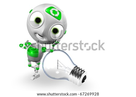 3d render of an environmentally friendly robot, he leans on a light bulb smiling into the camera with a thumbs up. A conceptual piece for a greener future, Isolated on white copy space. - stock photo