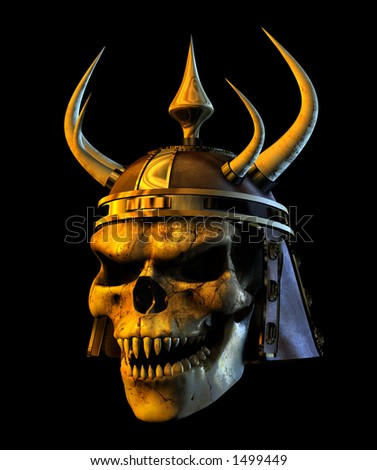 3D render of an evil demon skull. - stock photo