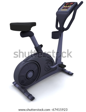 3D render of an exercise bike isolated on white