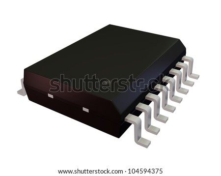 3d render of an Isolated SOIC 16W Electronic Component