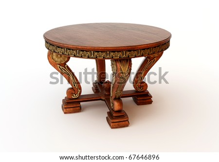 3D render of an old wooden table - stock photo