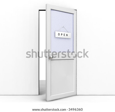 3D render of an open door with an open sign on it