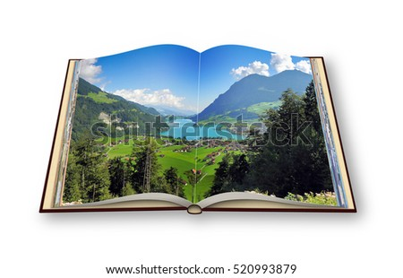3D render of an opened photo book with a panorama of Lungern village (Switzerland - Europe)