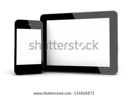 3d render of an smart phone and a tablet PC