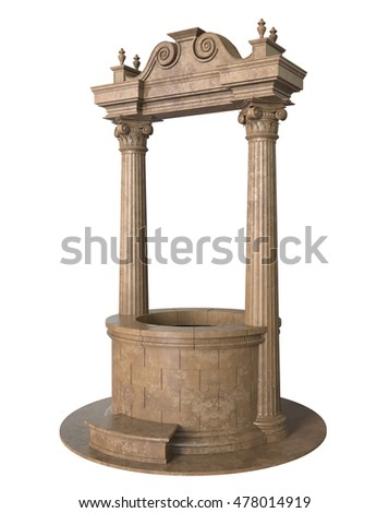 3d render of antique stone well on a white background