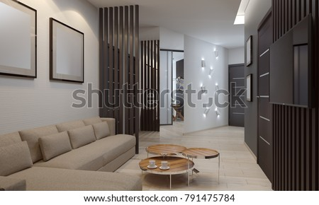 apartment living room with tv. 3d Render Of Apartment Living Room With Tv Set Render Apartment Living Room Tv Stock Illustration 791475784