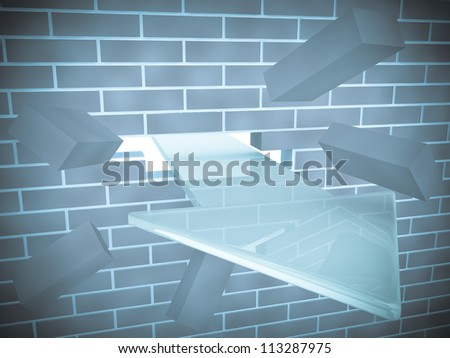 3d render of arrow breaking brick wall - stock photo