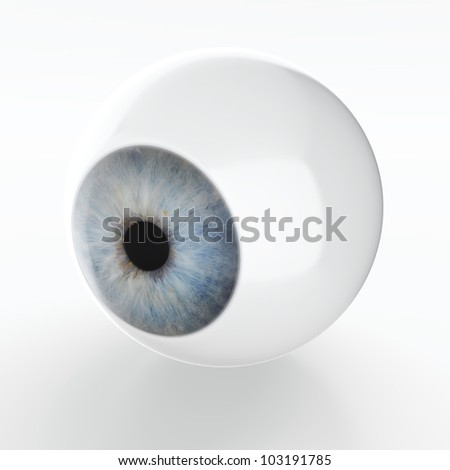3D render of artificial eye isolated on white background - stock photo
