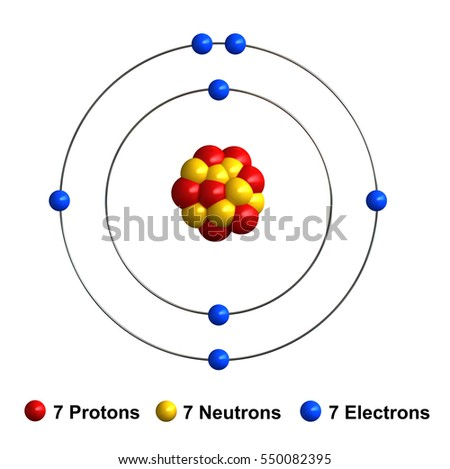 3d render of atom structure of nitrogen isolated over white background