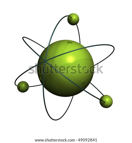 3d render of atom structure on white background - stock photo