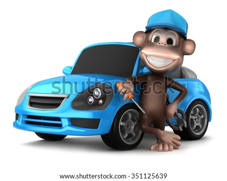 3d render of auto mechanic monkey holding tools beside a blue car - stock photo