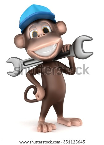 3d render of auto mechanic monkey with big wrench - stock photo
