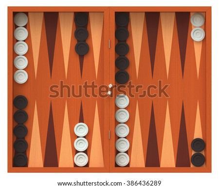 3D render of  backgammon game board isolated over white - stock photo