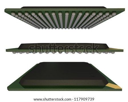 3d render of ball grid array electronic components isolated on white