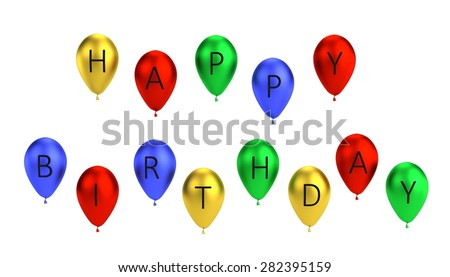3d render of balloon letters - happy birthday