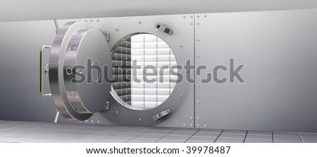3D Render of Bank Vault and Safety Deposit Boxes - stock photo