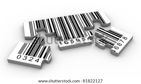 3d render of bar code puzzle piece - stock photo