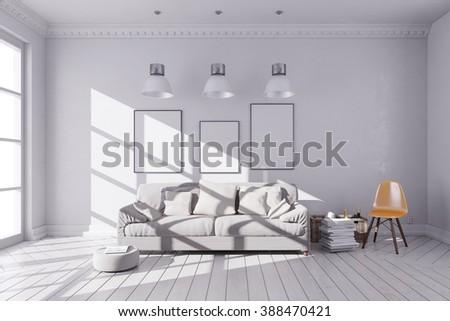 3d render of beautiful clean interior room - stock photo