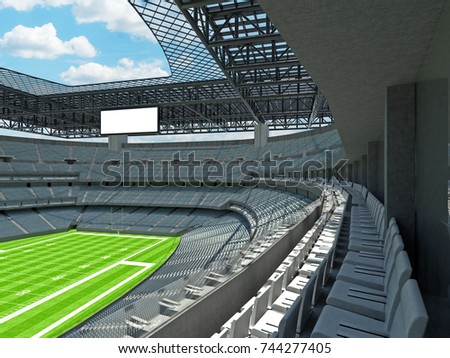 3D render of beautiful modern large empty American football stadium with grey seats and VIP boxes for hundred thousand fans. Three tiers of stands, floodlights and blank scoreboard to write in score
